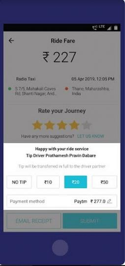 Meru cabs app now gives option of tipping its drivers