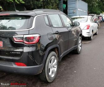 Jeep Compass petrol AT variant spotted at dealership