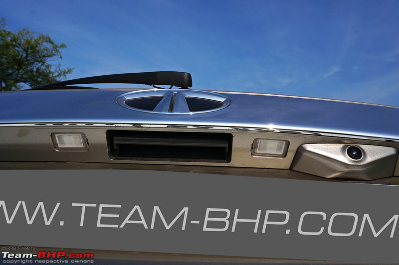 2018 renault duster team bhp. contemporary 2018 rear bumper has a prominent skidplate and houses 4 parking sensors along  with the reversing camera these are essential as hexa is long vehicle for 2018 renault duster team bhp