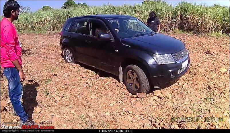A Mercedes GL, 2 Grand Vitaras, a Sugarcane farm and a tow cable-036-view-stuck-front-wheel.jpg