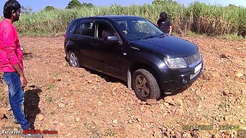 A Mercedes GL, 2 Grand Vitaras, a Sugarcane farm and a tow cable-036-view-stuck-front-wheel.jpg