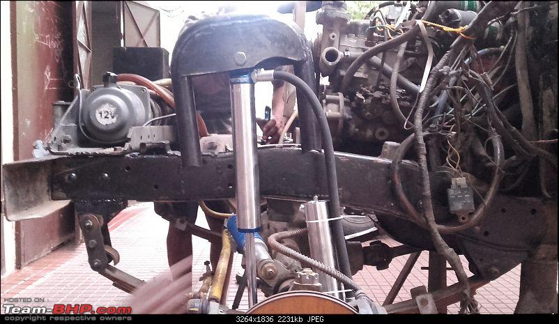 Installing Remote Reservoir Shock Absorbers in a Mahindra Jeep-fronthoop01.jpg
