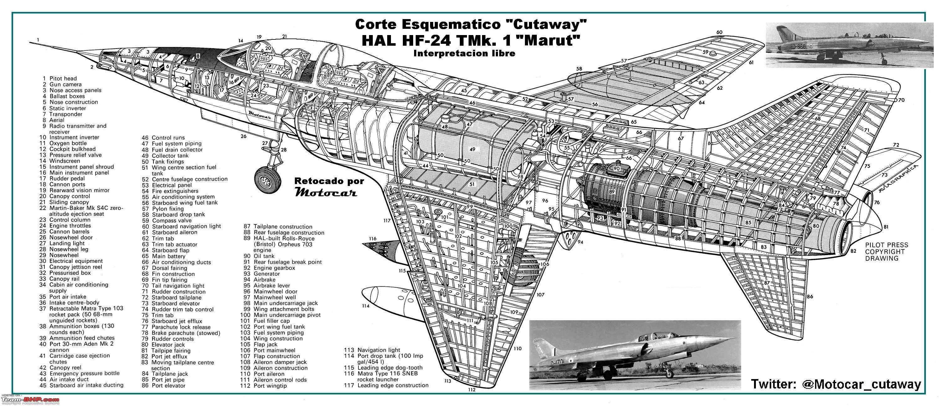 D Indian Aviation Hal Hf Marut First Indian Jet Fighter P Cutaway