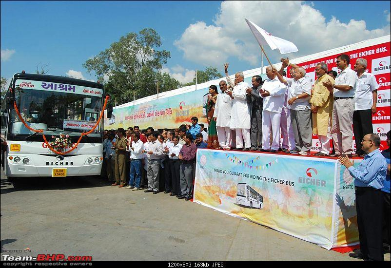 "Eicher introduces a ""rear engine semi low floor"" Bus-flagging-off-gandhinagar-custom.jpg"