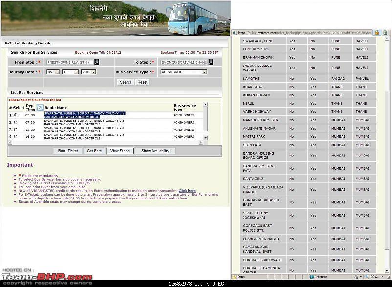 Shivneri Bus Services : Dadar - Pune - Dadar-route.jpg