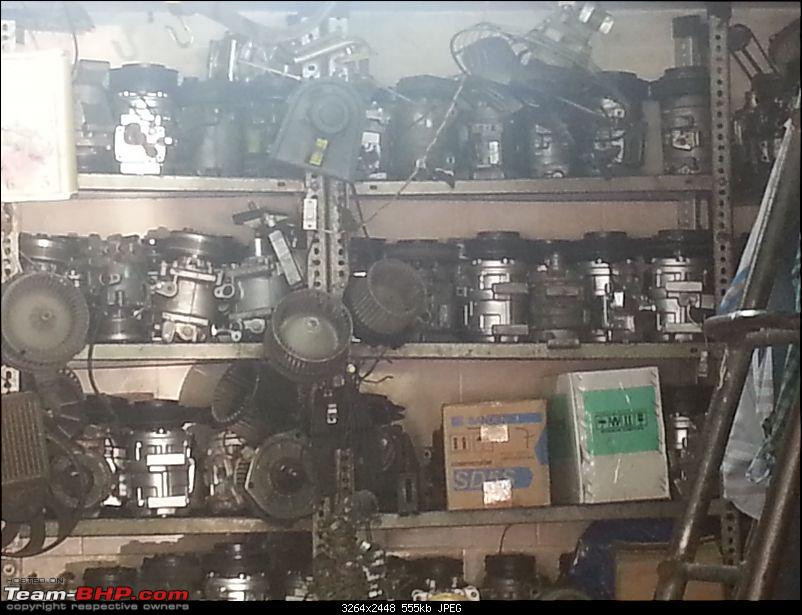Friendly Neighbourhood Garage - Shanoo & Irfan, Unique Automobiles (Delhi)-refurbished-new-compressors-shelves.jpg