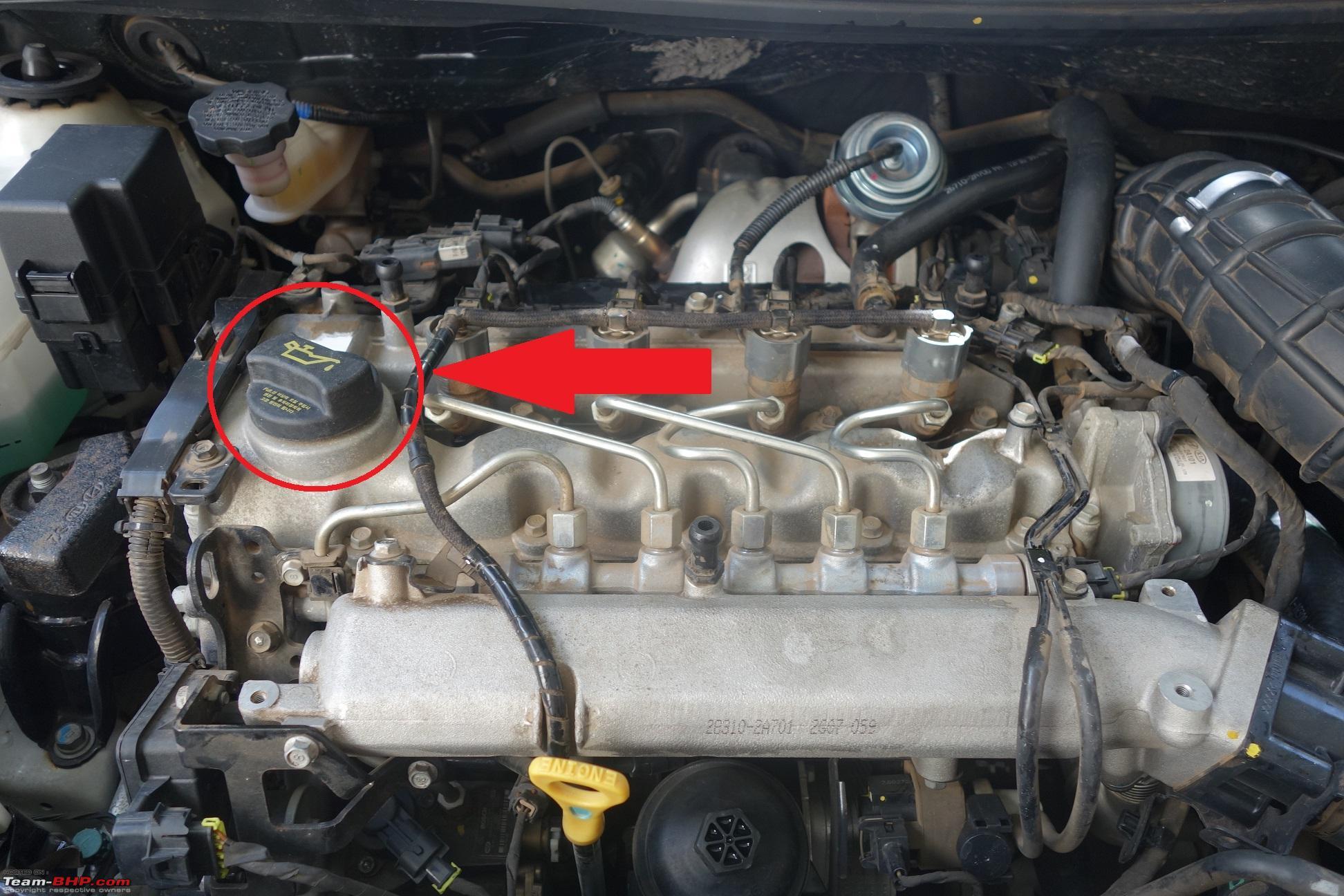 Diy engine oil filter change on the hyundai verna crdi engine oil