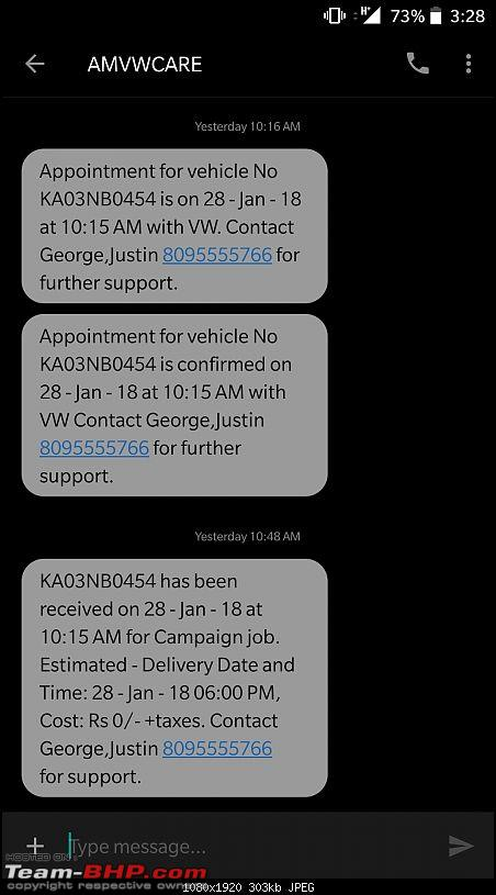 VW Whitefield, Bangalore books fake service appointment for my Vento!-screenshot_20180129152844.jpg