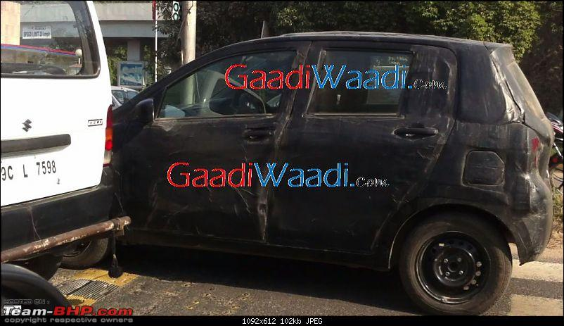 Maruti's plans - Upgraded Swift, SX4 Crossover and an 800cc Diesel car?-2015suzukialtosideviewspyshot.jpg