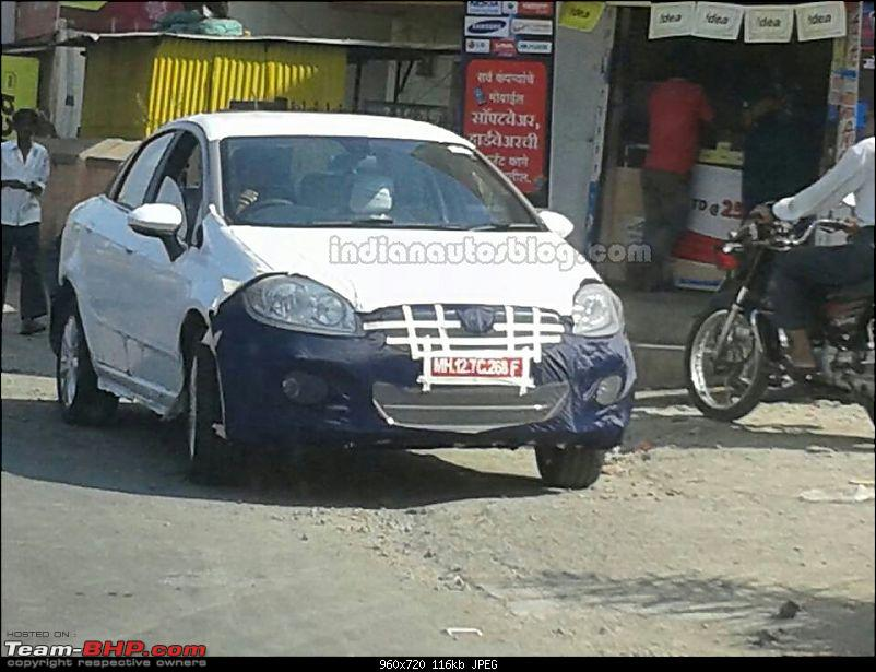 The Fiat Linea Facelift, bookings open now-2014fiatlineafaceliftspottedontest.jpg