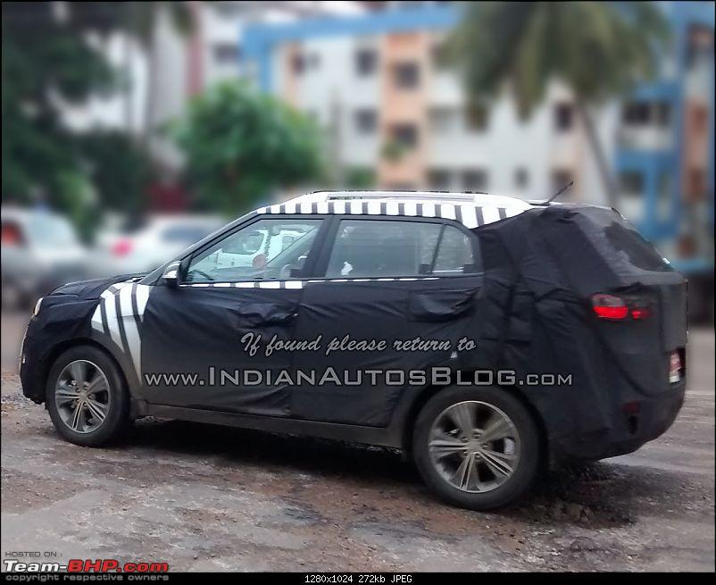 Hyundai ix25 Compact SUV caught testing in India. EDIT: Named the Creta-hyundaiix25spiedindiaiabside.jpg