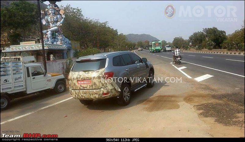 The next-generation Ford Endeavour. EDIT: Now spotted testing in India-2016fordendeavoureverestspiedindiarearthreequarters.jpg