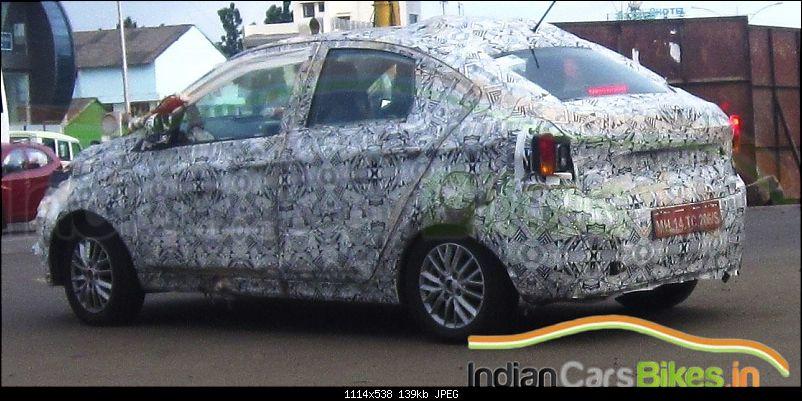 Tata Tiago-based compact sedan. EDIT: Unveiled at the Auto Expo 2016!-tatakitesedanspyshotsrearthreequarter.jpg