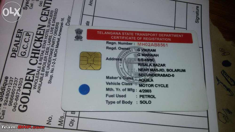 Vehicle transferred to new state, registration number still of old ...
