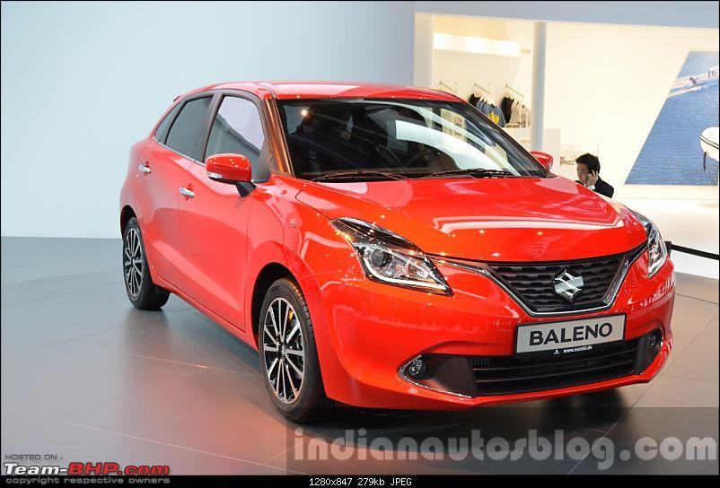 Next-gen Suzuki Baleno (YRA) unveiled. EDIT: Now launched at Rs. 4.99 lakhs-2016suzukibalenofrontthreequarteratiaa2015.jpg