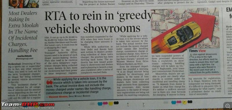 "Delhi Transport Dept tells Dealers to stop ""Handling Charges"" SCAM. EDIT: Telangana and Kerala too-toi-dc.jpg"