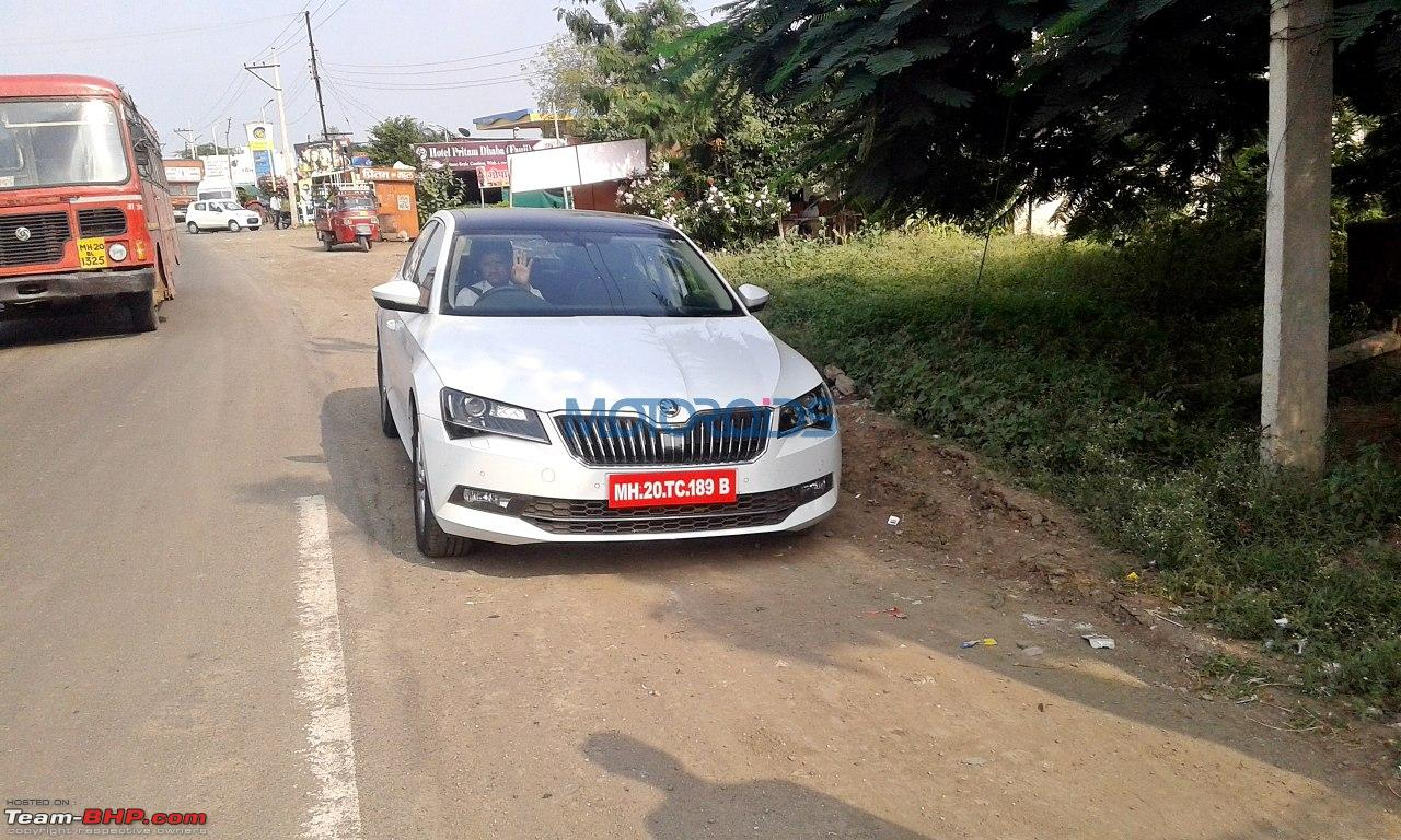 scoop third gen skoda superb spotted testing in india edit launched at rs lakhs page. Black Bedroom Furniture Sets. Home Design Ideas
