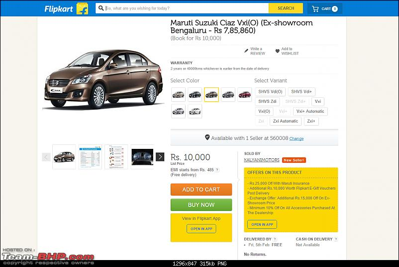 Now book your Maruti, Bajaj, KTM, Kawasaki on Flipkart. EDIT: Mahindra KUV100 as well-flipkart-2.png