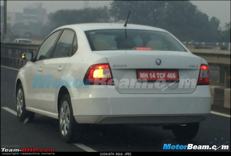 Skoda Rapid facelift caught testing. EDIT: Launched at Rs. 8.35 lakhs-2016skodarapidfaceliftrear.jpg