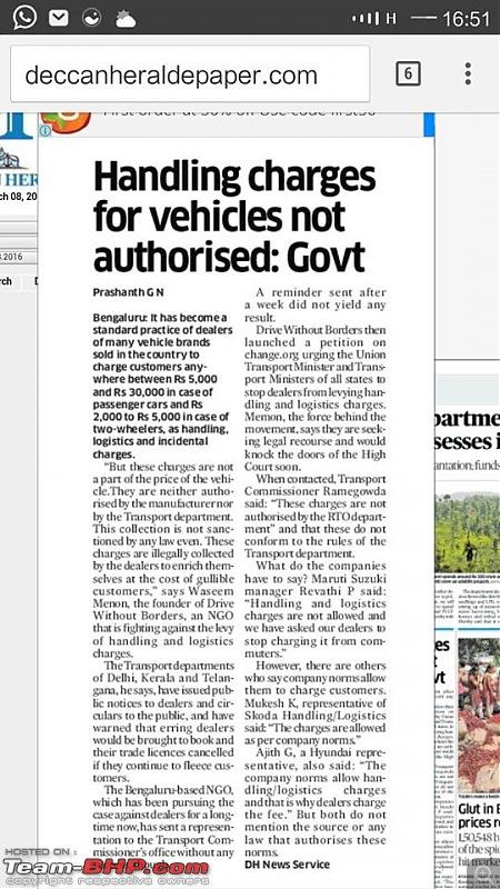 "Delhi Transport Dept tells Dealers to stop ""Handling Charges"" SCAM. EDIT: Telangana and Kerala too-dh-hc.jpg"