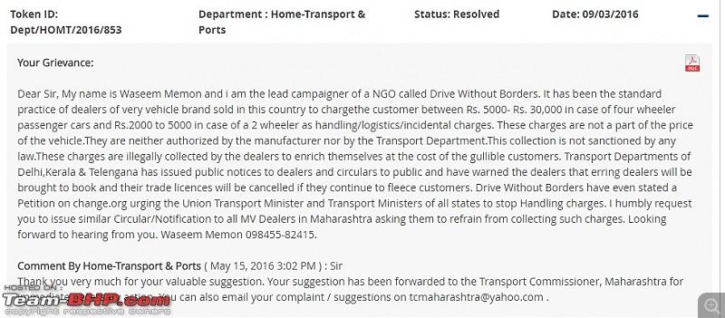 "Delhi Transport Dept tells Dealers to stop ""Handling Charges"" SCAM. EDIT: Telangana and Kerala too-maha.jpg"