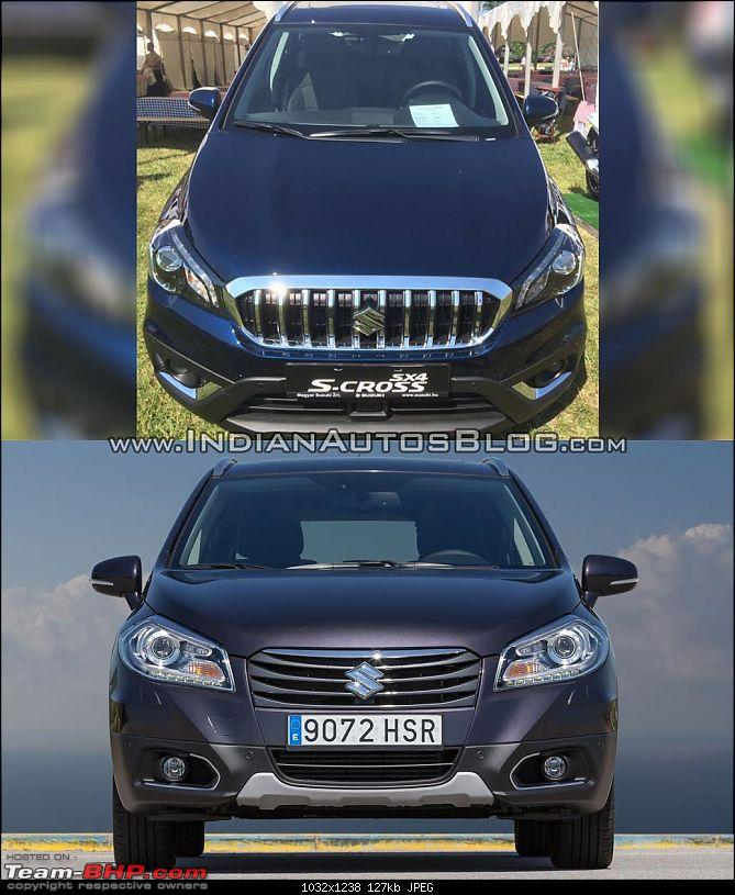 2016 Suzuki S-Cross facelift leaked. EDIT: Launched at Rs. 8.49 lakh-marutisuzukiscrossfaceliftvsoldermodelfrontoldvsnew.jpg