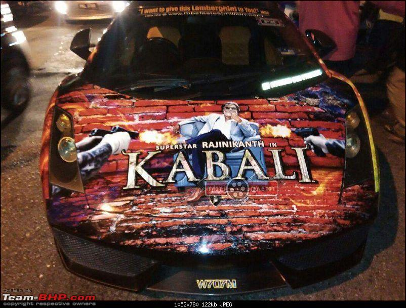 Maruti Swift and other cars with 'Kabali' artwork-lamborghinikabalirajnikant4.jpg