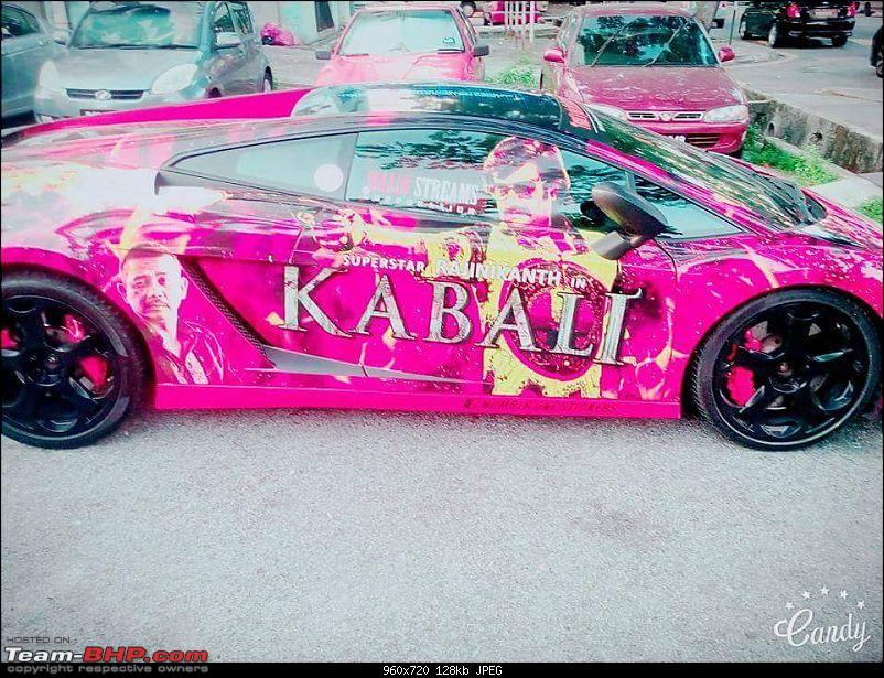 Maruti Swift and other cars with 'Kabali' artwork-lamborghinikabalirajnikant9.jpg