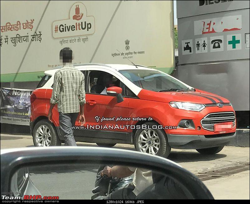 The 2017 Ford EcoSport Facelift caught testing in India. EDIT: Now launched at Rs 7.31 lakhs-fordecosportdualtonefrontthreequartersspyshot.jpg
