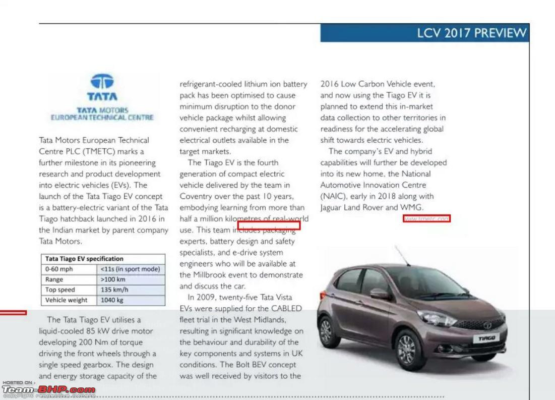 Tata Motors working on all-electric Tiago. EDIT: Pics on page 3 ...