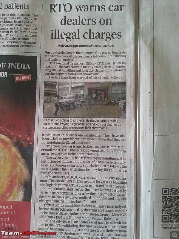 "Delhi Transport Dept tells Dealers to stop ""Handling Charges"" SCAM. EDIT: Telangana and Kerala too-gujarat-handling-charges-rto.jpg"