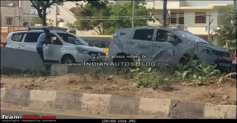 New Mahindra MPV caught testing in Chennai-mahindrau321mpvwiththerenaultlodgy.jpg