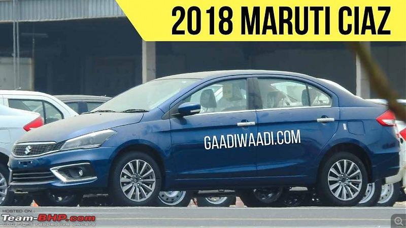 The Maruti Ciaz Facelift. EDIT: Now launched at ₹ 8.19 lakhs-2018maruticiazfaceliftbluefrontthreequartersleftsidespyshot.jpg