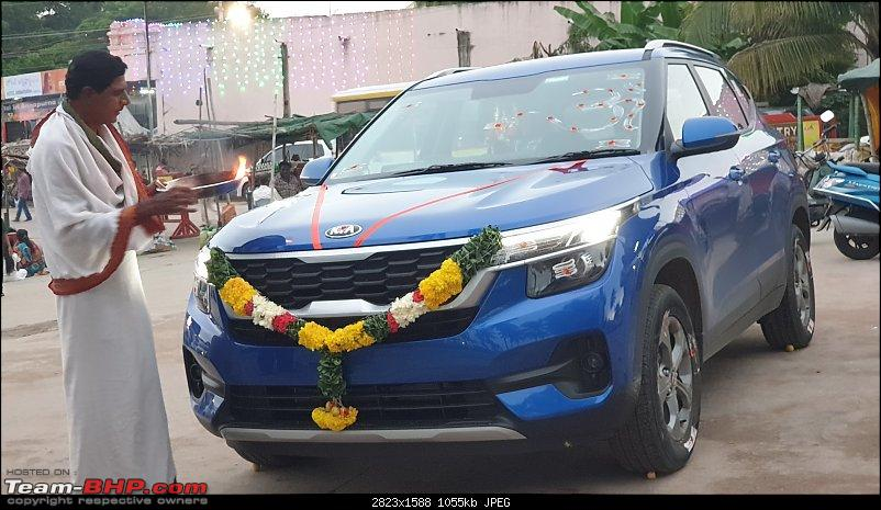 The Kia Seltos SUV (SP Concept). EDIT : Launched at Rs. 9.69 lakhs-kanipakam-puja.jpg