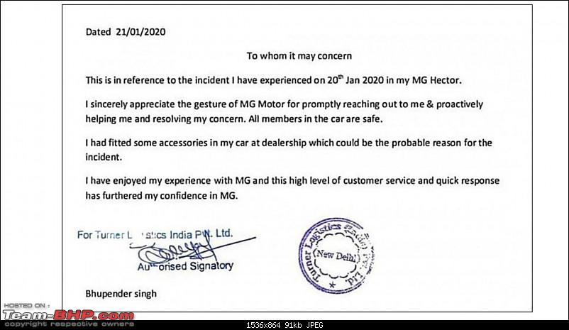 The curious case of MG Hectors catching fire-mghectorfireownerstatement.jpg