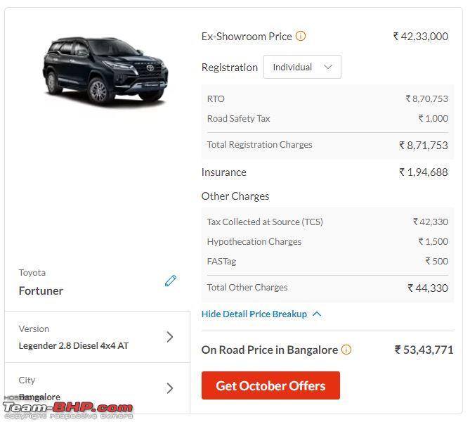 Name:  Fortuner Legender 4x4 AT OTR price Bangalore.JPG Views: 155 Size:  47.7 KB