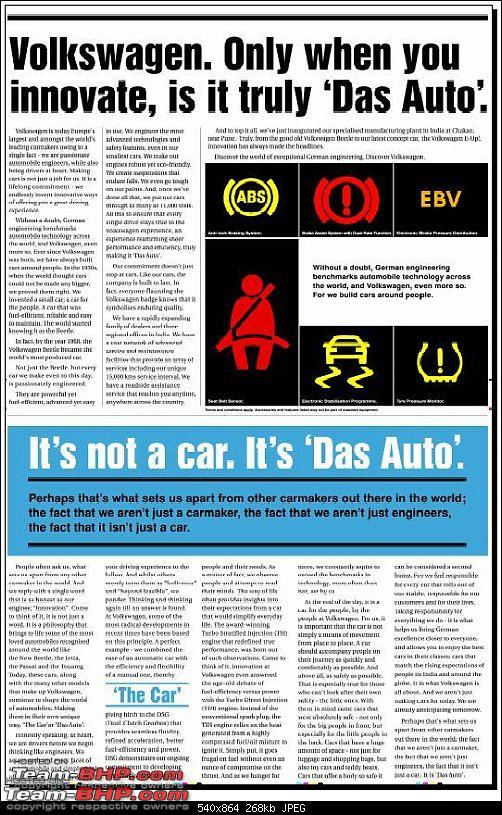 Times of India? Nope, VW of India. EDIT: Vibrating ad on 11 Sept 2012 (Pg 26)-toi-2.jpg