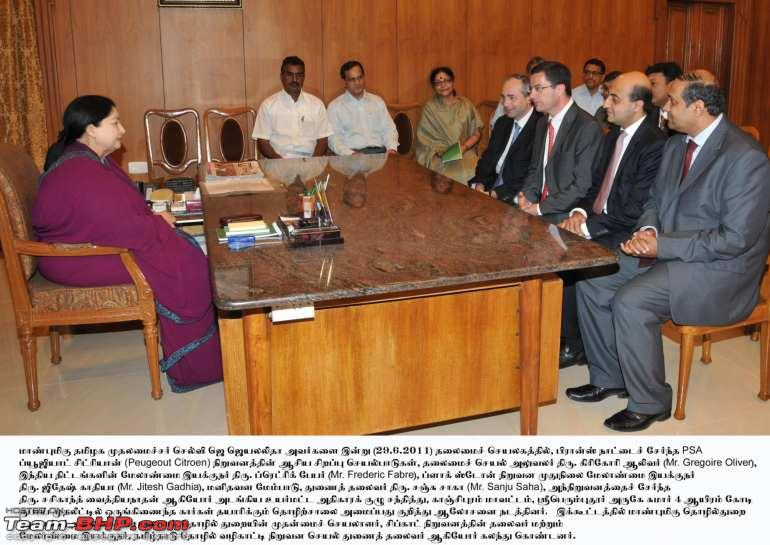Name:  A High level delegation from PSA Peugeot Citroen called on the Honble Chief Minister.jpg