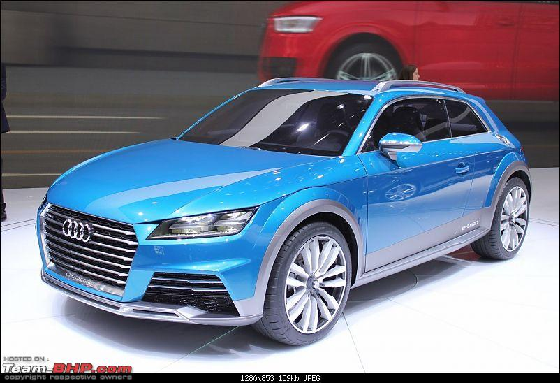 Audi's 2.0L TFSI engine with two electric motors: 53 kpl and 0-100 in 4.6 secs-audiallroadshootingbrakeconceptat2014naiasfrontquarter.jpg