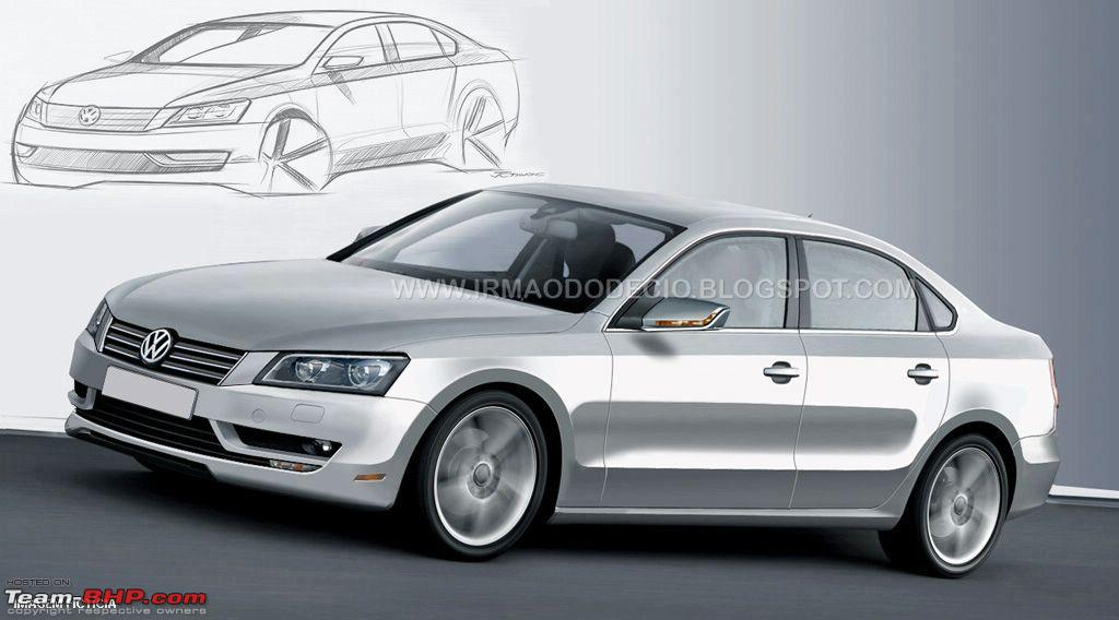 Vw Releases Teaser Sketch For New Mid Size Sedan Aka Nms Team Bhp