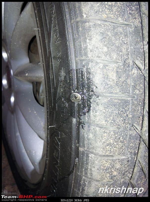 Petrol Hatch to Diesel Sedan - Fiat Linea - Now Wolfed-puncture.jpg