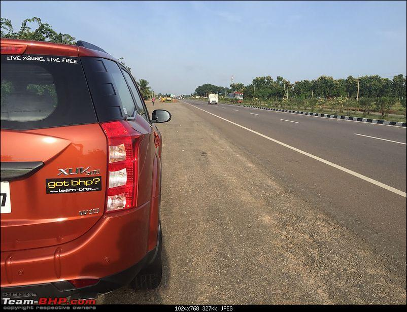 Ownership Tales - The Orange Cheetah! 2015 Mahindra XUV500 W10 FWD-hwystop2.jpg