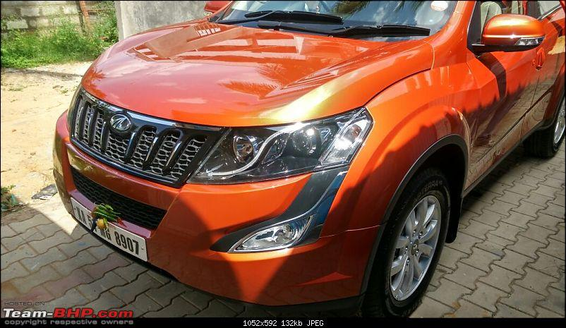 Ownership tales of the Orange Cheetah - 2015 Mahindra XUV500 W10 FWD completes 50,000+ km-front45right.jpg