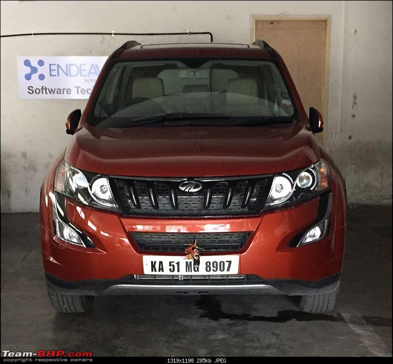 Ownership tales of Orange Cheetah, my 2015 Mahindra XUV5OO W10 FWD - 140,000 km and going strong!-parked.jpg