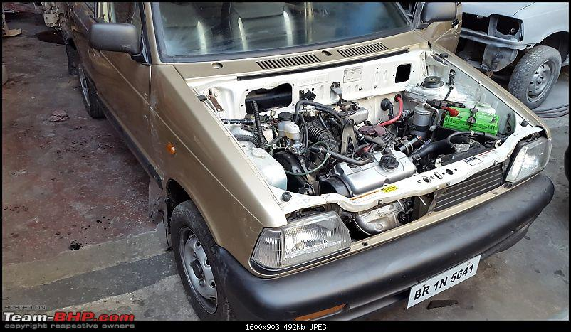 The love of my life - A 2000 Maruti 800 DX 5-Speed. EDIT: Gets export model features on Pg 27-2-days-without-hood.jpg