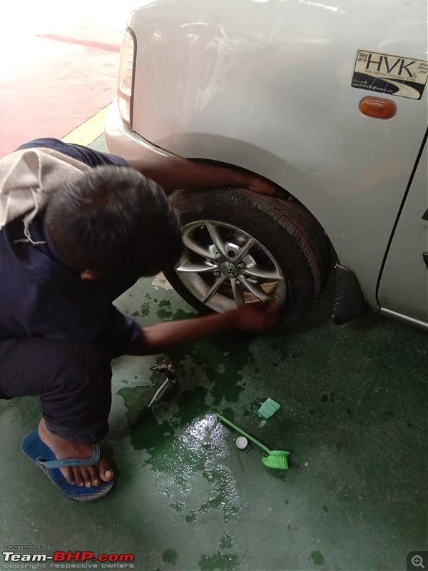 My Maruti Wagon-R F10D: 13 years, 247,000 km & major service update-alloy-wheel-washing.jpg