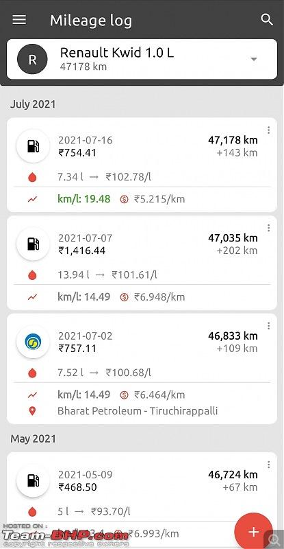 5 Years & 50,000 km with my Renault Kwid 1.0 RXT(O) - Ownership Review-screenshot_20210716075408_fuelio.jpg