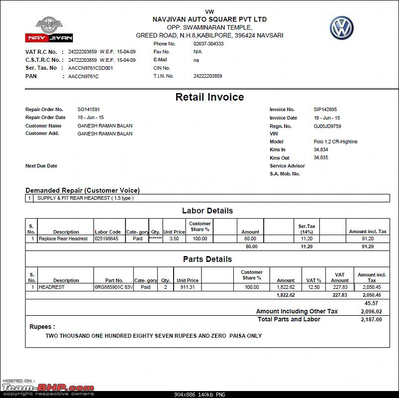 VW Polo (2010 - 2013) : Rear head-restraint replacement-invoice.png