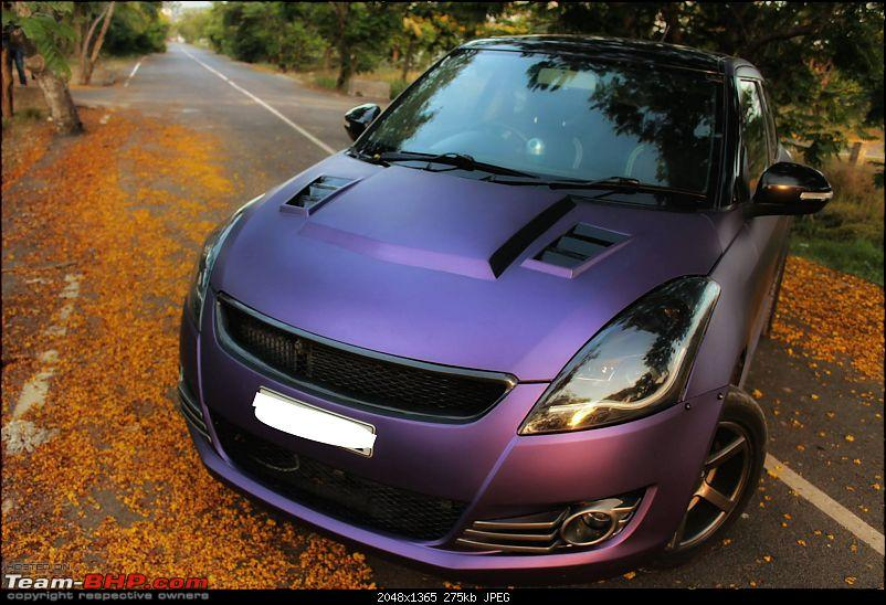 PICS : Tastefully Modified Cars in India-marutiswiftmattepurplewrapandsportybodykitfrontquarter.jpg