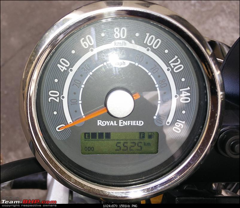 Me, myself and the Enfield Continental GT-odo_km.png <u>ODO in KM</u><br /> <br /> Am still getting used to kick starting the bike. For practice I manually start the bike at-least once on the days I ride.<br /> <br /> I installed the bar end mirrors myself, it's fairly straight forward once you figure out how. Initially I ended up removing the bar-end weights, bad idea. Screwing it back on turned out to be an adventure in itself! Hint: You don't remove the bar-end weights. The orifice of the mirror &quot;handle&quot; is large enough for the bar weight to slide through.<br /> <a href=